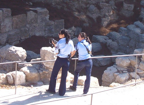 Policewomen from the bomb squad at the site