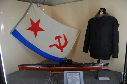 Флаг, макет подлодки и форма офицера ЧФ СССР