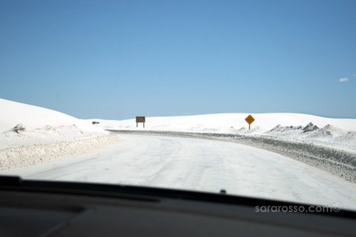 Driving through White Sands National Monument - Is it snowing?