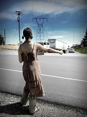 Jen hitchhiking