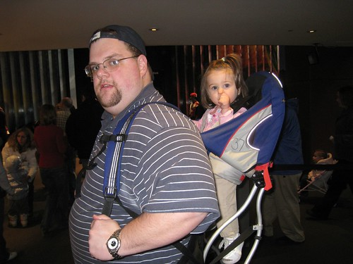 Greg and Amelia in the new (borrowed) baby backpack