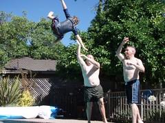 Nicholas gets thrown in the pool