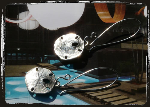Orecchini conchiglia - Sand dollar pewter earrings AMHHCAF