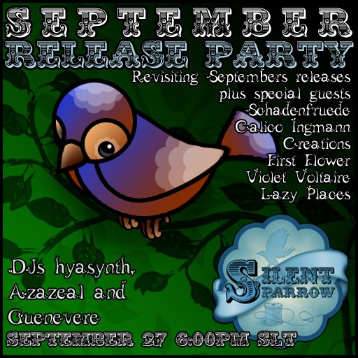 September release party for silentsparrow and friends!