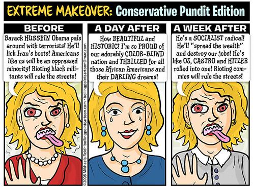 Conservatives on Obama, cartoon by Mikhaela