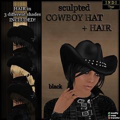 cowboy hat black (women)