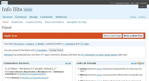 Screenshot da nova versão do Dashboard do WordPress.com