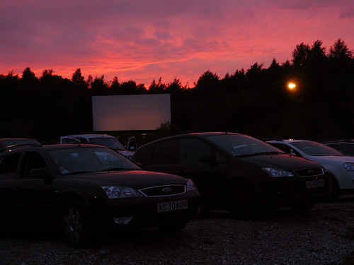 Beautiful sky at the drive in cinema