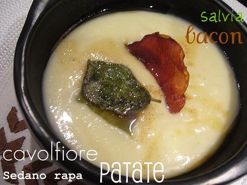 Zuppa bianca al burro aromatizzato alla salvia  bacon