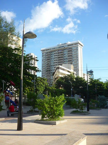 The park / playground and a triangular building