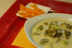 Broccoli soup with cheddar straws
