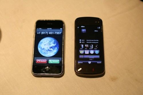 Nokia N97 sitting next to iPhone
