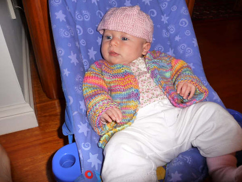 Itty-Bitty in her hat and sweater