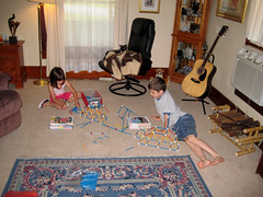 Kids collaborating to building a bigger suspen...