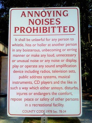Annoying Noises Prohibitted [sic] by BarelyFitz