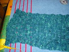 Woodland shawl pre-blocking
