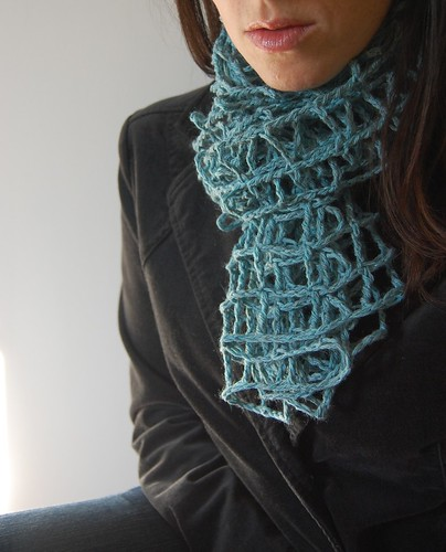 blue crochet mesh scarf