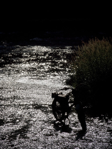 Moped Silhouette in the River Exe