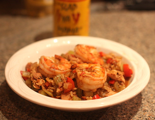 Brown Rice Jambo with Chicken Andouille and Shrimp by you.