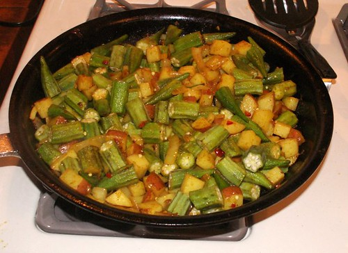 Step 3 - Adding in Potatoes and Okra