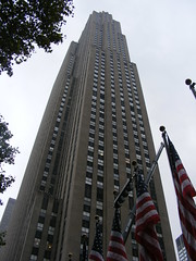 Looking up to the Top of the Rock