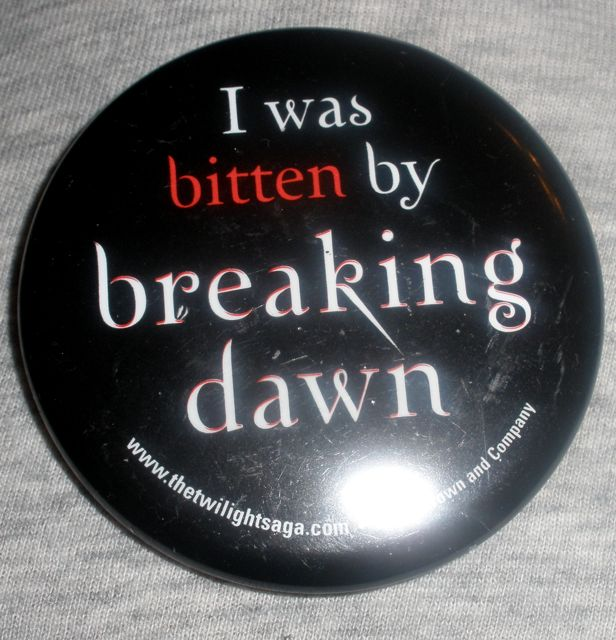 Buttons given out at the event.