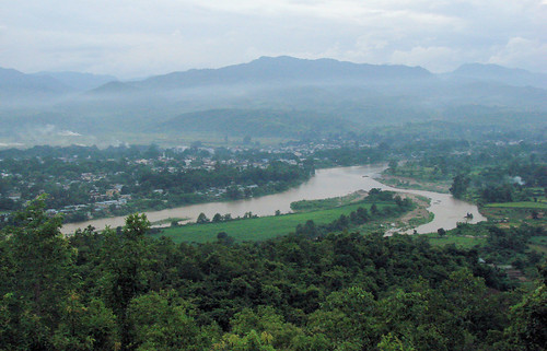 "Vista sobre Hsipaw desde el ""Sunset Point Hill""."
