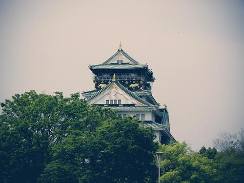 나무들 뒤로 오사카성 천수각이 보인다.