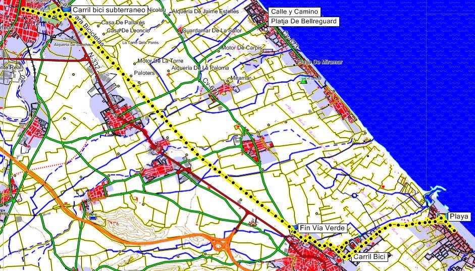 Mapa Via Verde de La Safor