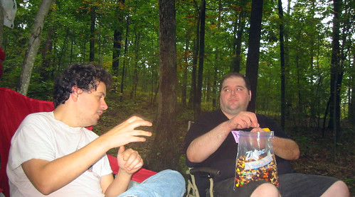 20080927 - camping - 169-6913 - Clint, Eli - give me trailmix - please click through to leave a comment on FlickR