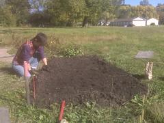 Ronna planting garlic