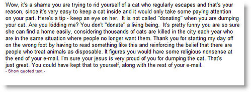 The first rude response from animal shelter volunteer