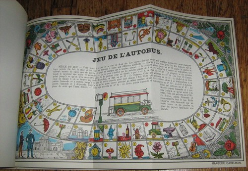 Fold-out panel of Carelmans interpretation of the story as a board game