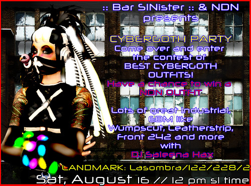 Cyber goth Party on Saturday, August 16