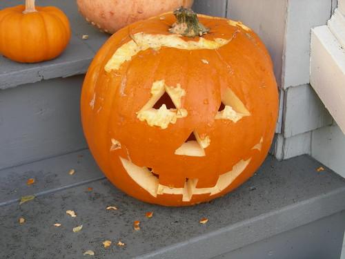 Squirrel-chewed pumpkin