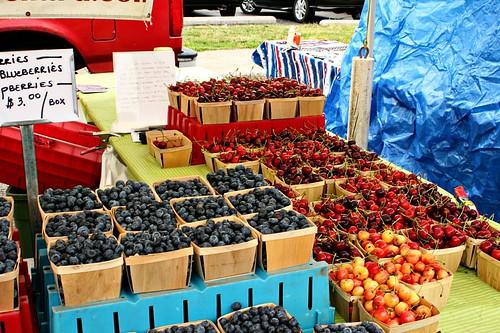Cherries, blueberries, raspberries.