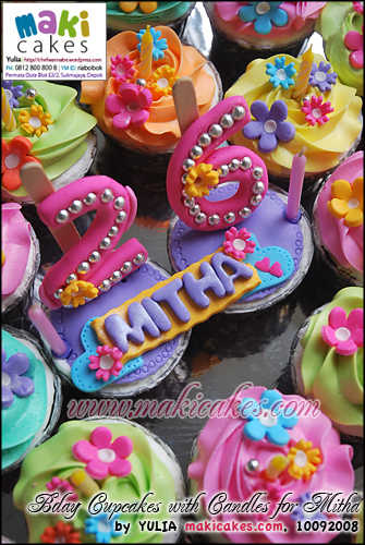 Bday Cupcakes with Candles for Mitha__ - Maki Cakes
