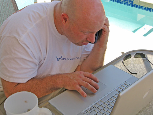 Terry working by the pool