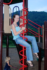 Morgan on the big screw in the park in Valle Crucis