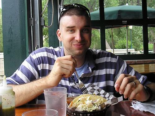 Webb enjoys yummy tacos at the Boathouse