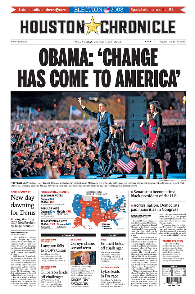 Front Page of the Houston Chronicle, Wed., Nov. 5, 2008