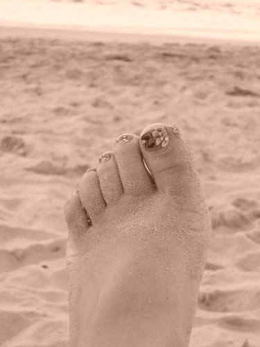A Puerto Rican style foot on the beach in sepia