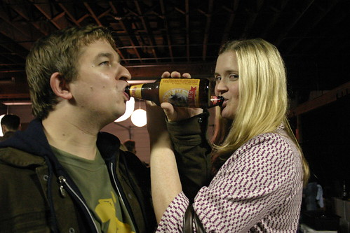 JW and Melissa share some beer