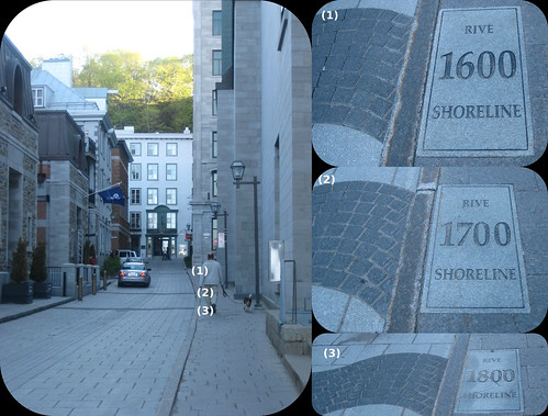 St Antoine Street, with the shorelines of 1600, 1700, 1800 marked. Québec City
