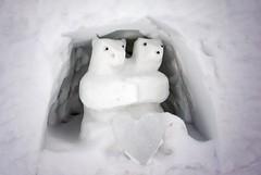 2 polar bears greet you outside Igloo Hotel Chapel