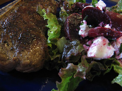 steak with beet and goat cheese salad