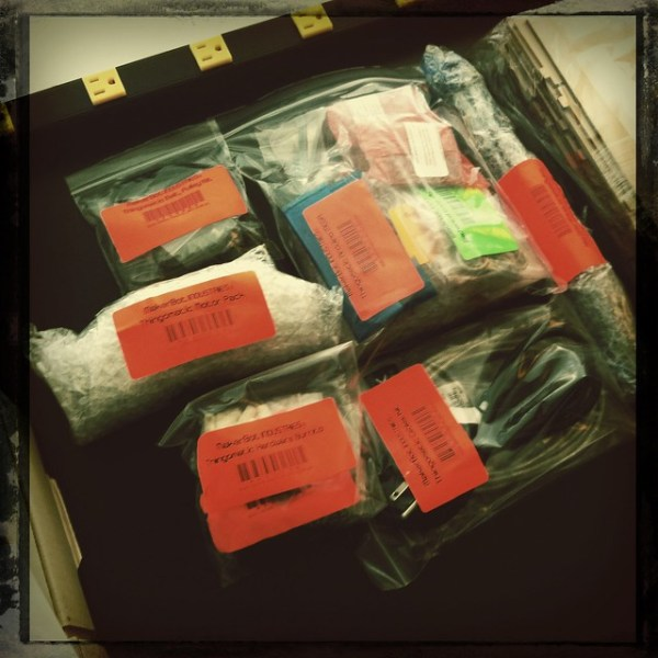 Bags of parts to be assembled