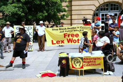 Free Lex Wotton Rally Queens Park Brisbane (photo by Ted Riethmuller)