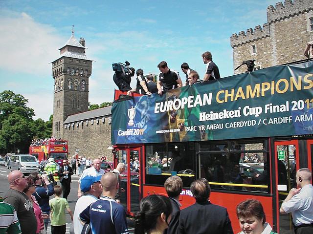 European Cup parade through Cardiff City Centre