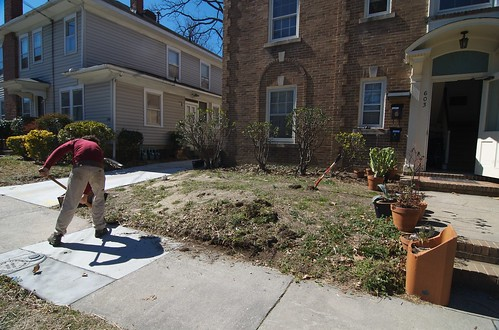 This is the front of our apartment this winter, pre-gardening.